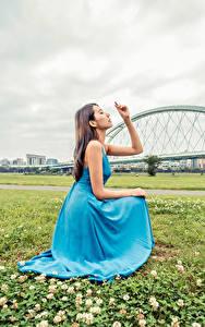 Bilder Asiaten Gras Posiert Kleid Hand Mädchens