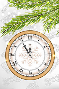 Pictures Christmas Clock Branches