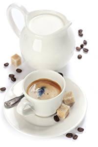 Hintergrundbilder Kaffee Milch Weißer hintergrund Tasse Kanne Zucker Getreide Lebensmittel