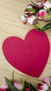 Hintergrundbilder Valentinstag Rosen Bretter Herz Blumen