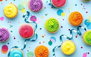 Papéis de parede Aniversário Cupcake Fita Multicolor comida