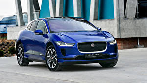Hintergrundbilder Jaguar Blau Metallisch 2019 I-Pace EV400 AWD HSE Autos