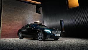 Hintergrundbilder Mercedes-Benz Schwarz Metallisch 2018 C 220 d Coupe AMG Line Autos
