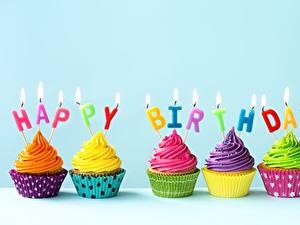 Papéis de parede Aniversário Cupcake Velas Alimentos