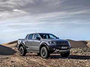 Bureaubladachtergronden Ford Pick-up Grijze Metallic Ranger Raptor auto's