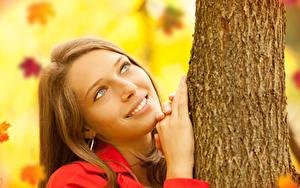 Bilder Braune Haare Lächeln Starren Hand Baumstamm Mädchens