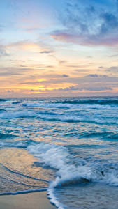Bilder Mexiko Meer Küste Wasserwelle Sonnenaufgänge und Sonnenuntergänge Cancun Natur