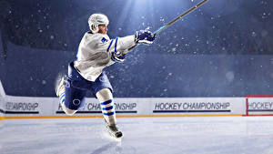 Wallpapers Hockey Men Uniform Rays of light Ice rink