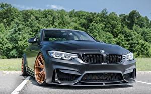 Bureaubladachtergronden BMW Vooraanzicht Zwart kleur Predator F80 M3 automobiel