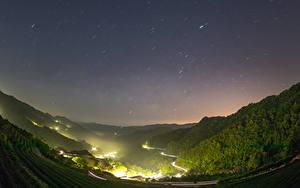 Sfondi desktop Cina Taiwan Montagna Foresta Campo agricolo Strade Notturna Natura