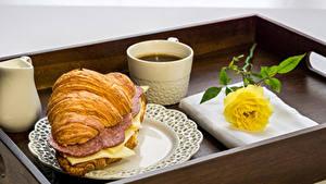 Bilder Croissant Kaffee Sandwich Wurst Käse Rosen Frühstück Tasse Gelb
