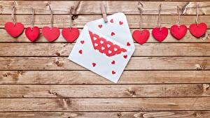 Papéis de parede Dia dos Namorados Tábuas de madeira Muro Coração