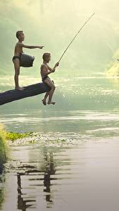 Wallpaper Rivers Asian Fishing Boys 2 Sitting Children