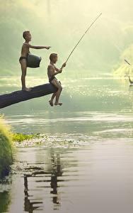 Wallpaper Rivers Asian Fishing Boys 2 Sitting Children