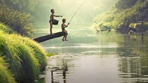 Hintergrundbilder Flusse Asiatische Fischerei Jungen 2 Sitzend Kinder