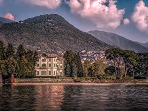 Bilder Italien Haus Gebirge See Villa Villa Erba Lake Como Städte