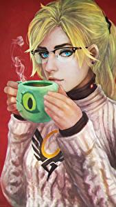 Fotos Overwatch Blondine Tasse Brille Mercy, Angela Ziegler Spiele Mädchens