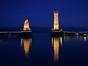 Bilder See Leuchtturm Deutschland Nacht Bodensee, Lindau