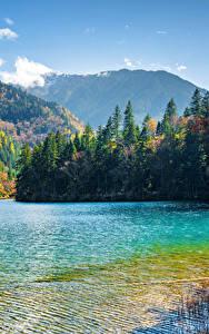 Fotos Jiuzhaigou park China Parks See Berg Wald Landschaftsfotografie