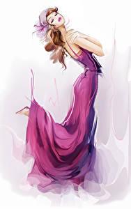 Fonds d'écran Dessiné Aux cheveux bruns Les robes