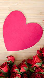 Fotos Valentinstag Rosen Viel Bretter Herz Blumen