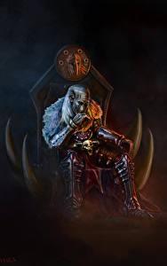 Fotos Krieger Thron Sitzen Fantasy