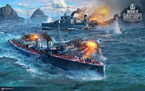 Hintergrundbilder World Of Warship Schiffe Schuss Russisches Destroyer 'Okhotnik' Spiele Heer