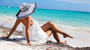 Pictures Beach Hat Frock Legs Hands Laying Girls