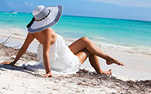 Pictures Beach Hat Frock Legs Hands Laying