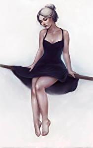 Hintergrundbilder Gezeichnet Bein Kleid Sitzend Weißer hintergrund junge frau