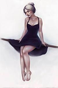 Hintergrundbilder Gezeichnet Bein Kleid Sitzend Weißer hintergrund Mädchens