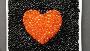 Bilder Meeresfrüchte Caviar Herz Getreide