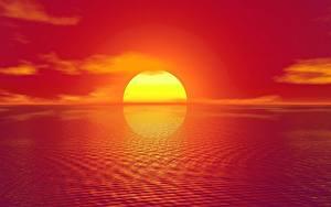 Bilder Sonnenaufgänge und Sonnenuntergänge Sonne 3D-Grafik