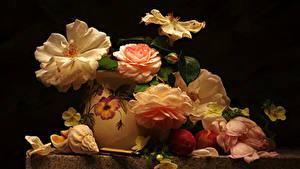 Bilder Rose Muscheln Stillleben Pflaume Vase Blumen