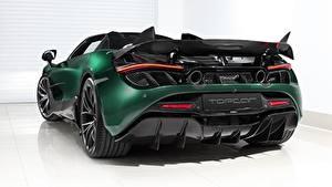 Wallpapers McLaren Back view Green Metallic Reinforced polymer plastic Spider, TopCar, Fury, 2020, 720S automobile