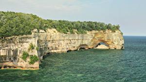 Fotos Vereinigte Staaten Wälder See Felsen Michigan Natur