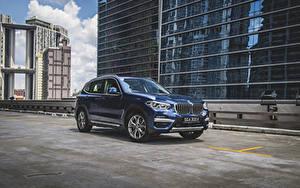 Hintergrundbilder BMW Crossover Blau Metallisch 2020 X3 xDrive30e xLine auto