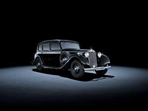 Fotos Mercedes-Benz Retro Grauer Hintergrund Schwarz Metallisch 1937-42 320 Pullman Limousine Autos