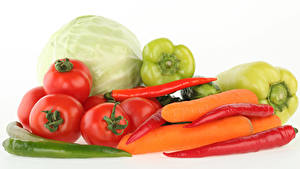 Pictures Vegetables Tomatoes Cabbage Pepper Carrots Chili pepper White background