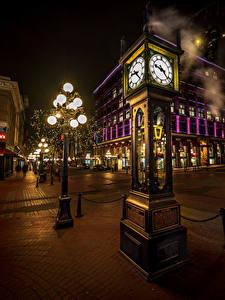 Bilder Kanada Haus Uhr Vancouver Straße Straßenlaterne Nacht