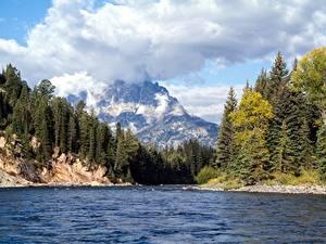 Hintergrundbilder Flusse Wälder Gebirge Landschaftsfotografie Vereinigte Staaten Park Herbst Wolke Wyoming, Grand Teton National Park, Snake River Natur