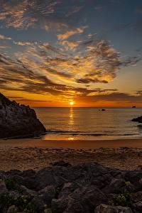 Hintergrundbilder Morgendämmerung und Sonnenuntergang Landschaftsfotografie Meer Himmel Sonne Strände Wolke
