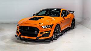 Fondos de Pantalla Ford Naranja Metálico Mustang Shelby GT500 2020 Coches