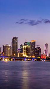 Hintergrundbilder Gebäude Abend Brücken Himmel USA Küste Miami Bucht Städte
