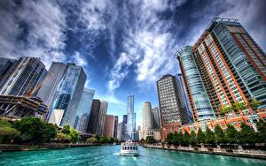 Bilder Gebäude Binnenschiff Chicago (Film) Vereinigte Staaten Kanal HDR Städte