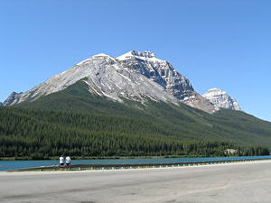 Pictures Lake Forests Mountains Canada Cliff Snow Asphalt British Columbia, Rocky Mountains, Yoho National Park, Emerald lake Nature