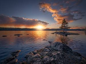 Fotos Sonnenaufgänge und Sonnenuntergänge See Norwegen Himmel Ringerike
