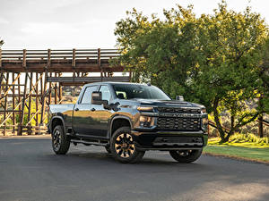 Fotos Chevrolet Grün Pick-up Metallisch 2020 Silverado 2500 HD Custom Crew Cab automobil
