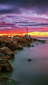Hintergrundbilder Spanien Küste Sonnenaufgänge und Sonnenuntergänge Himmel Stein Leuchtturm Meer Valencia Natur
