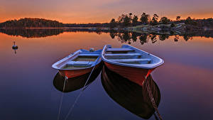 Bilder Schweden Flusse Boot Sonnenaufgänge und Sonnenuntergänge 2 Natur